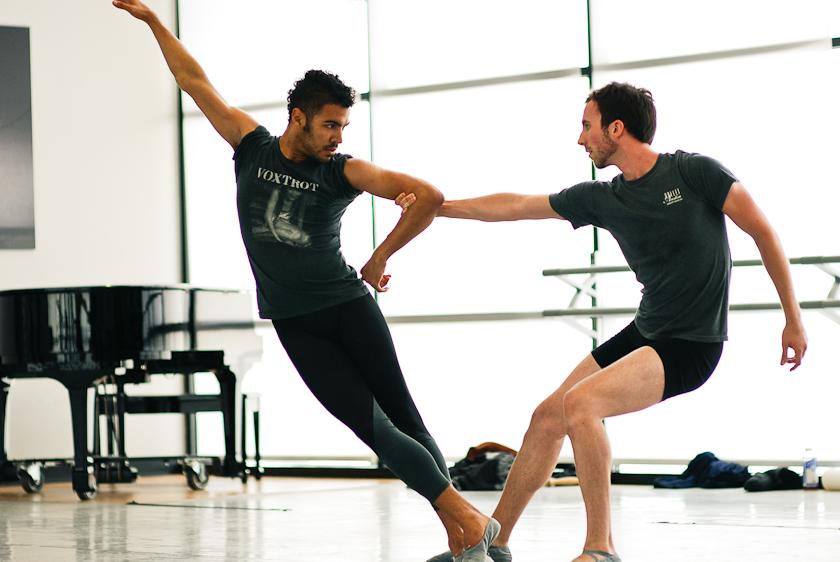ballet dancers rehearsal in studio