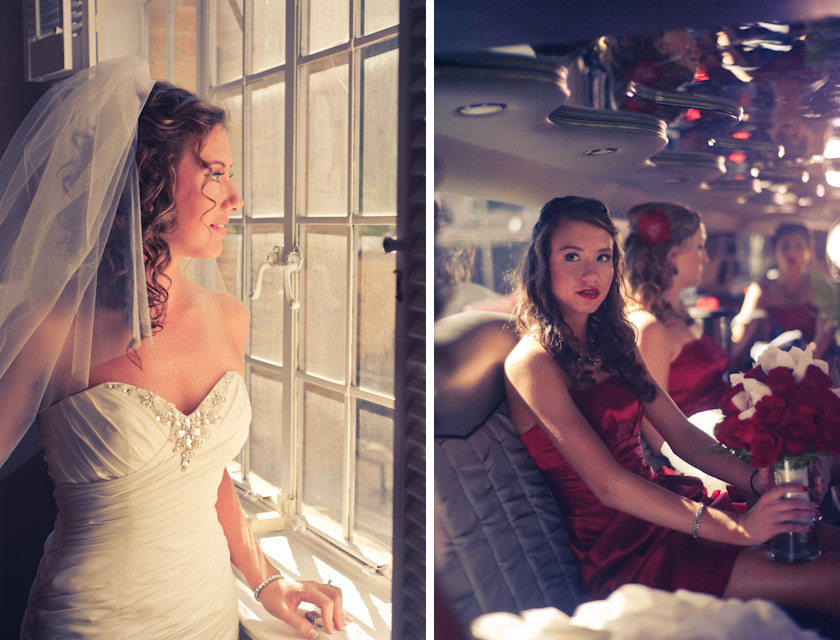 bride and bridal limosine