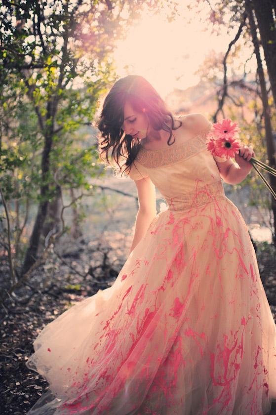 austin wedding photographer, bridal wedding dress with paint