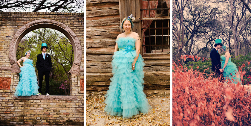 ... Three Photos From An Alice In Wonderland Engagement Session Converse  Shoes With Bride And Groom. The Zilker Botanical Gardens ...