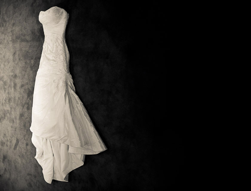 wedding dress on carpet