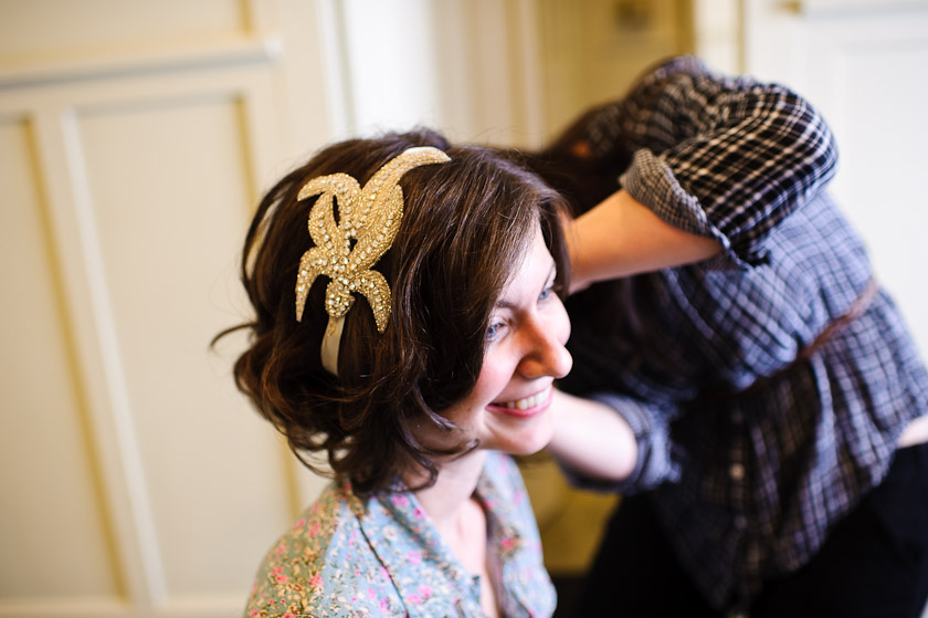 etsy hair piece on bride