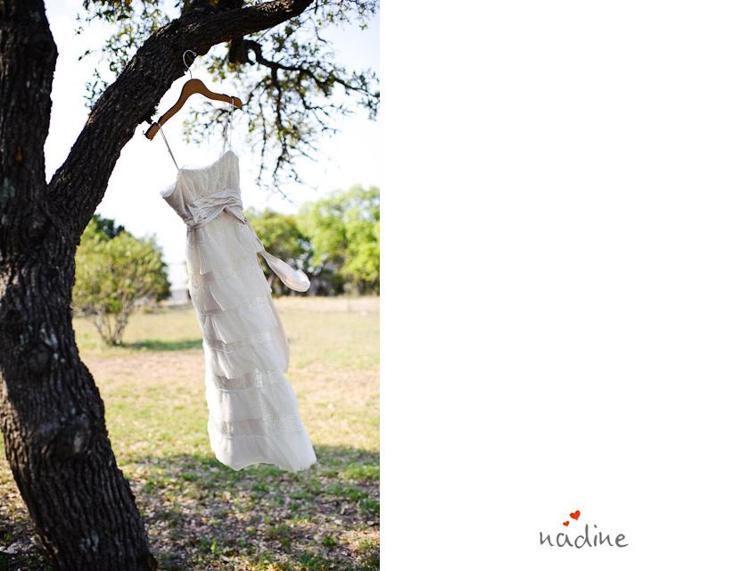 wedding dress swinging on a tree
