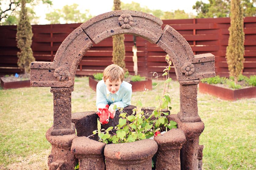 kid near a well