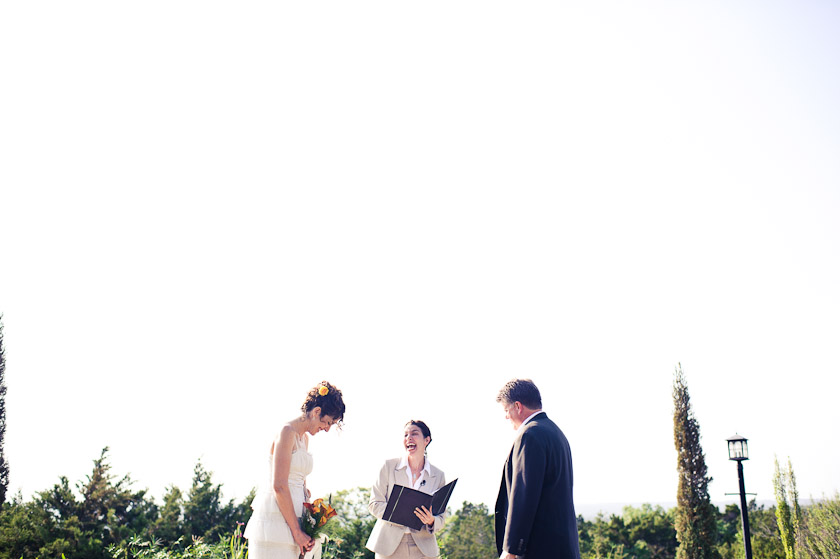 the officiant bride and groom