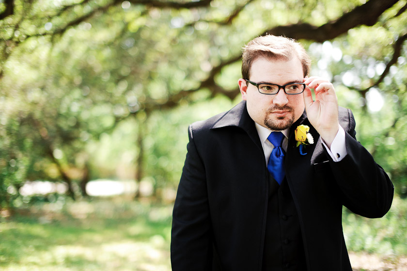 nerdy looking groom