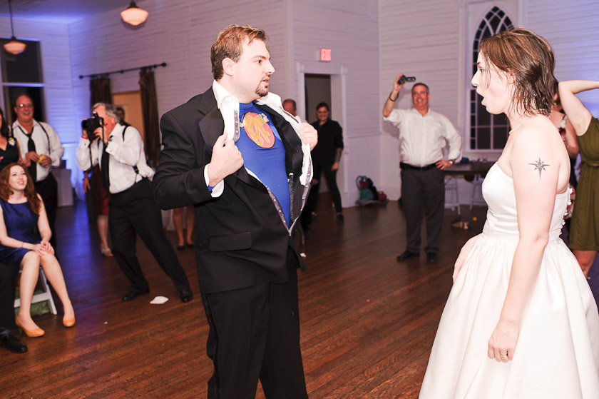 groom revealing that he is a super hero