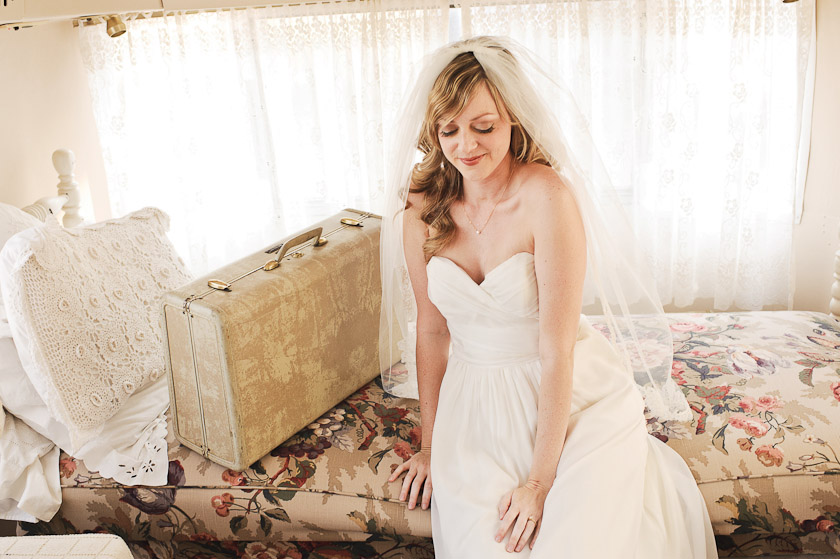 austin wedding photographer - bride and vintage suitcase