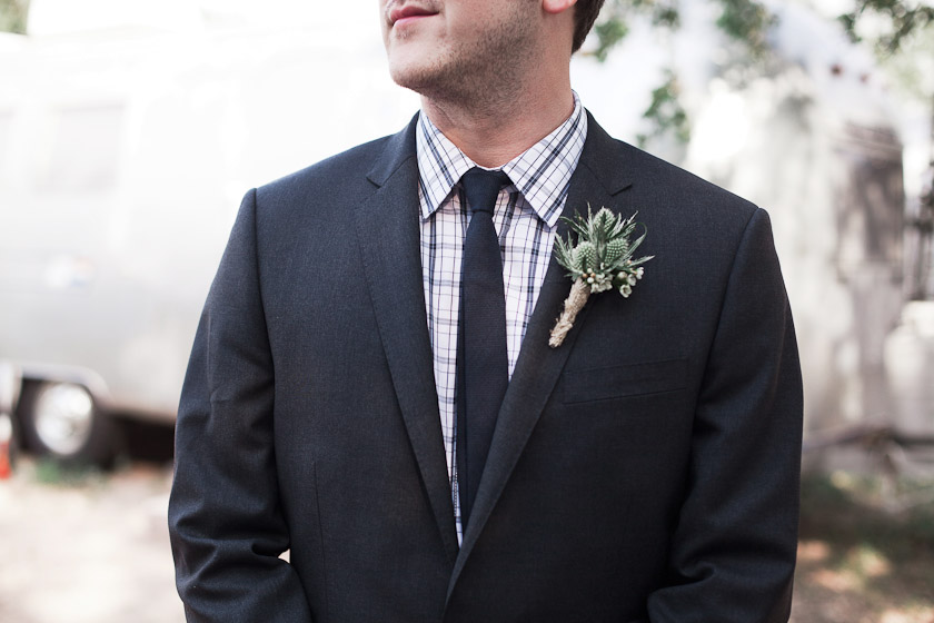 groom and succulent boutonniere