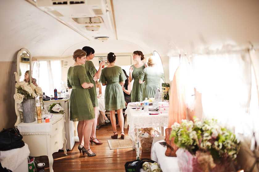 bridesmaids getting ready in a vintage airstream