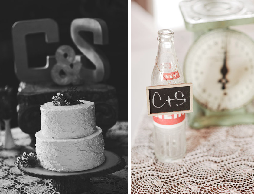 wedding cake and coke bottle