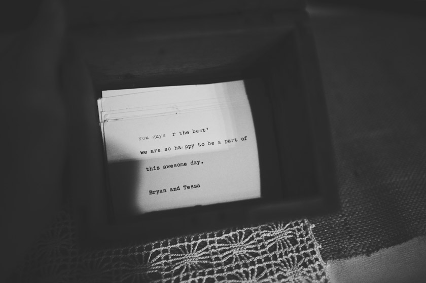 austin wedding photographer - typewriter guest message
