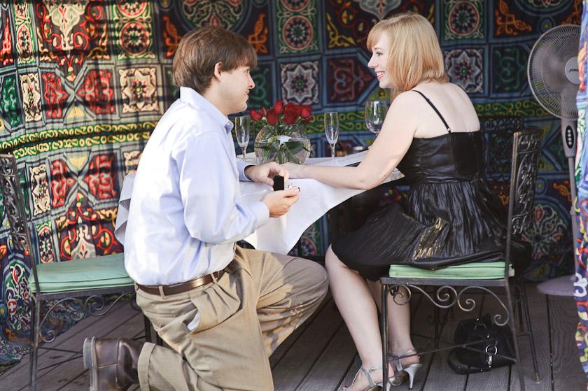 surprised girlfriend being proposed