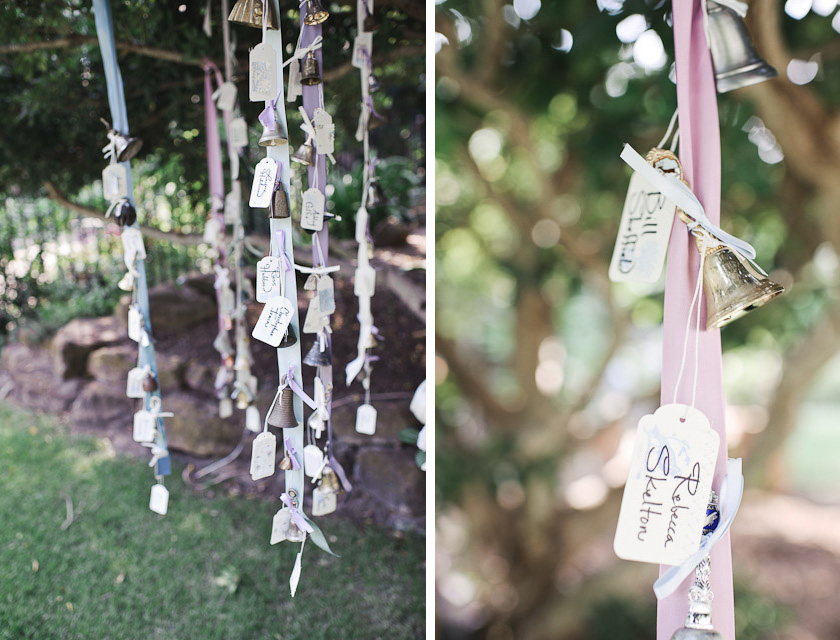 vintage bells on ribbons with escort cards