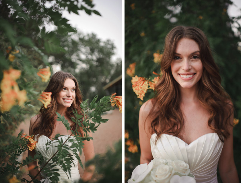 bride and orange flowers