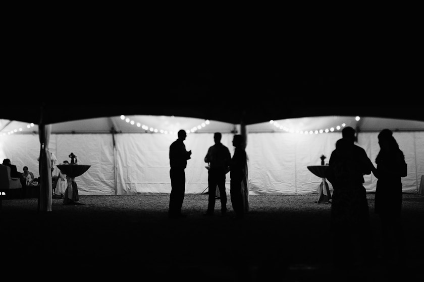 black and white view of reception tent