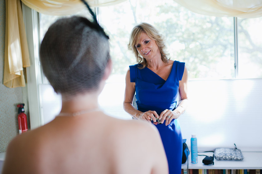mother of bride looking into her daughter