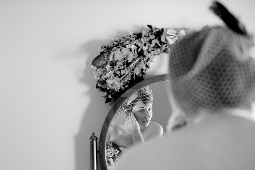 getting ready and looking into the mirror