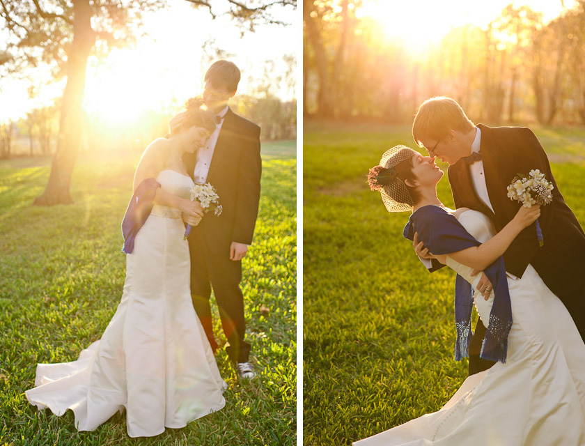 bride and groom with the sun setting behind them