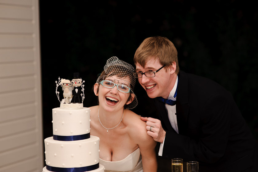 double glasses during cake cutting