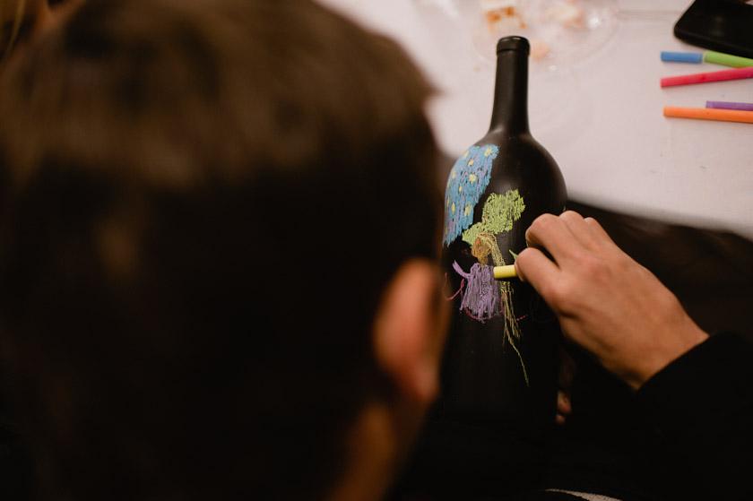 chalking a blackboard bottle