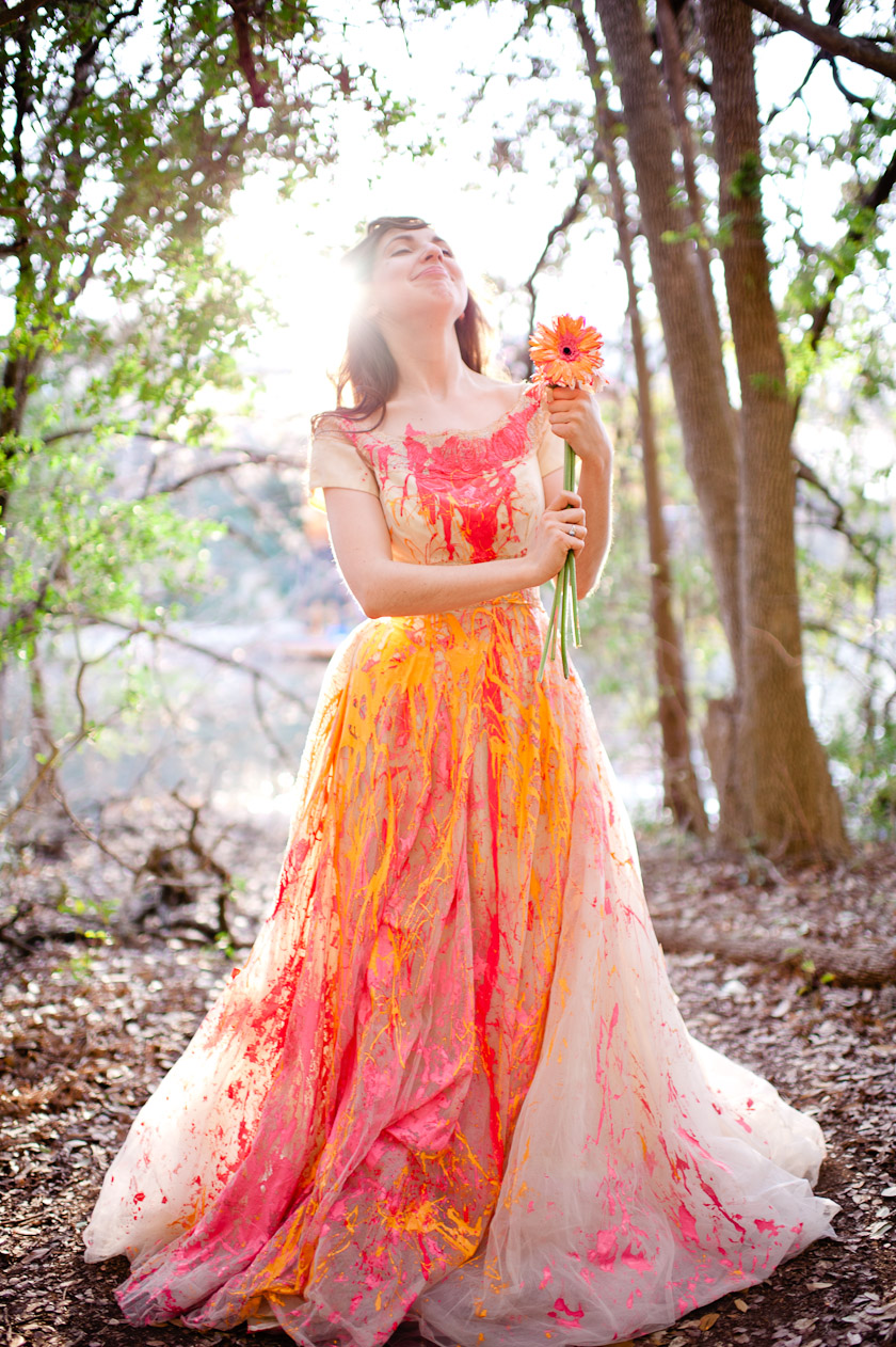 trash the dress with pink and yellow paint