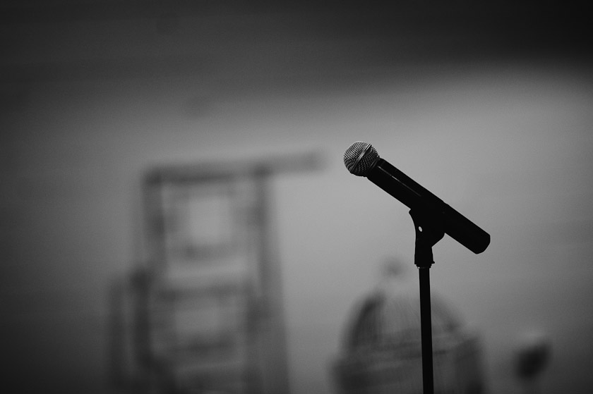 picture of a mike or microphone in black and white