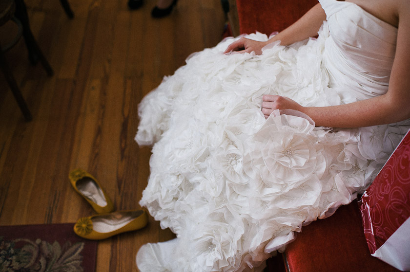 high fashion bride and yellow shoes