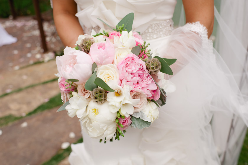 pink and white peony bouquet flower