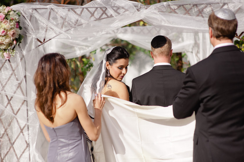 prayer shawl covering the bride and groom