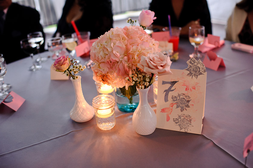 pink centerpieces table number pink flowers