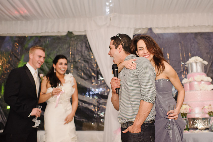 laughing during toasts