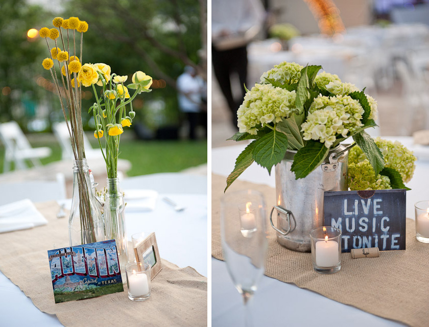 austin themed centerpeices with flowers and live music tonight sign