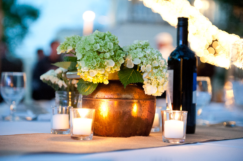 tin pot centerpieces for a wedding