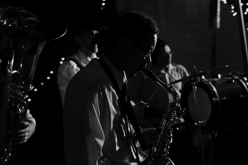 a new orleans second line band during the wedding | austin wedding photographer