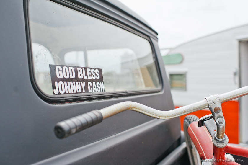 God bless Johnny Cash sticker on a truck