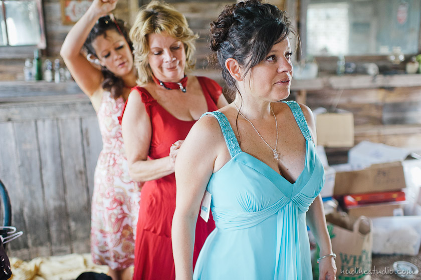 bridesmaids and family getting ready