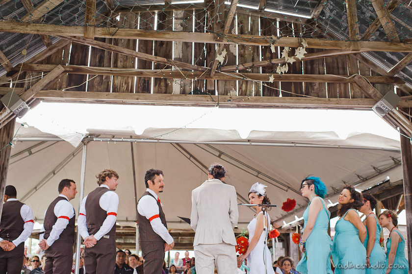 ceremony at an austin ghost town wedding
