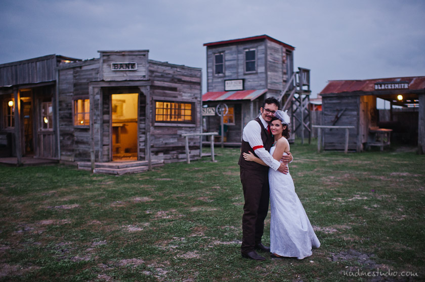 bride and groom and ghost town