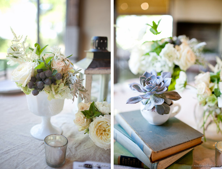 vintage book and secculant centerpieces
