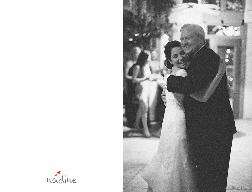 bride hugging the dad