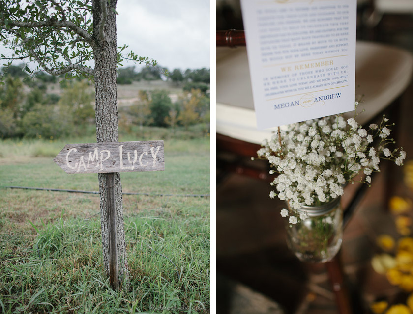 camp lucy wedding sign