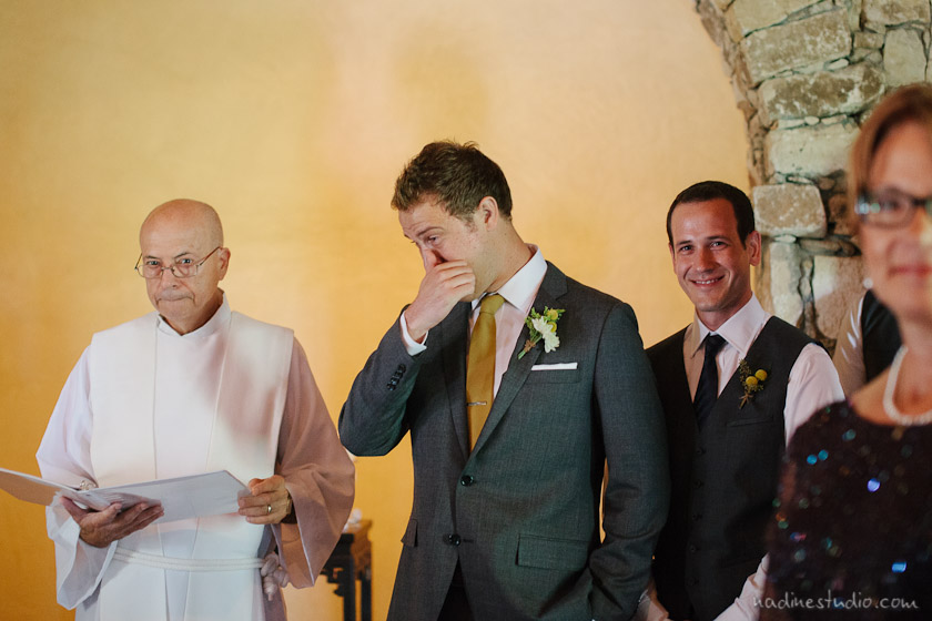groom crying first reaction on seeing the bride