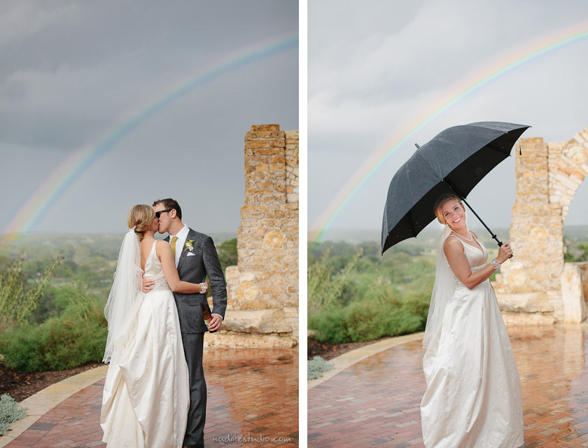 rainbow during an austin wedding, rainbows