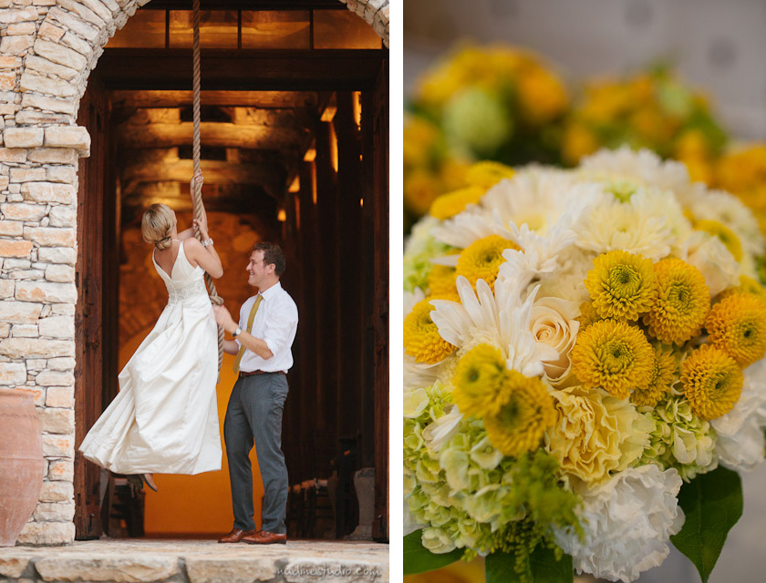 bride and groom ringing the bell, yellow bouquet