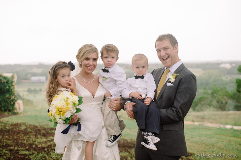couple with flower girl and ringbear