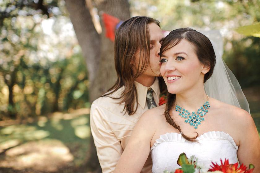 bride and groom at Halloween themed wedding