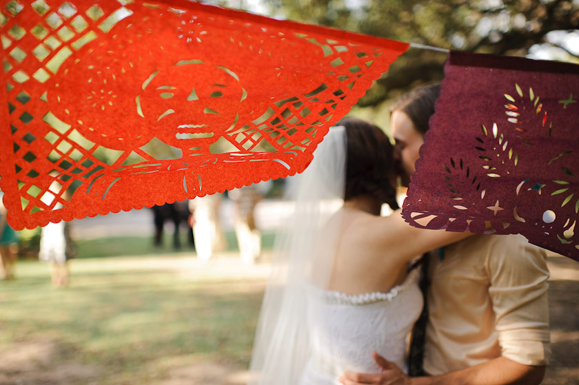 day of the dead banners at wedding