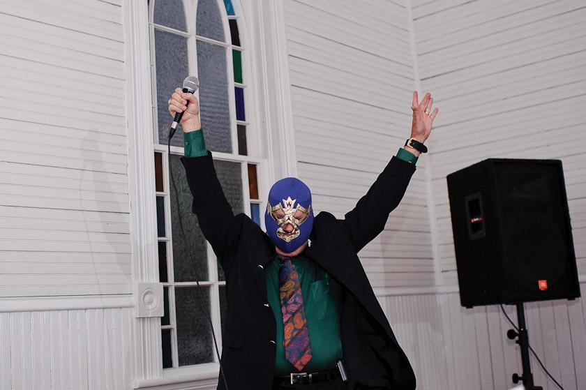 mask at a Halloween wedding