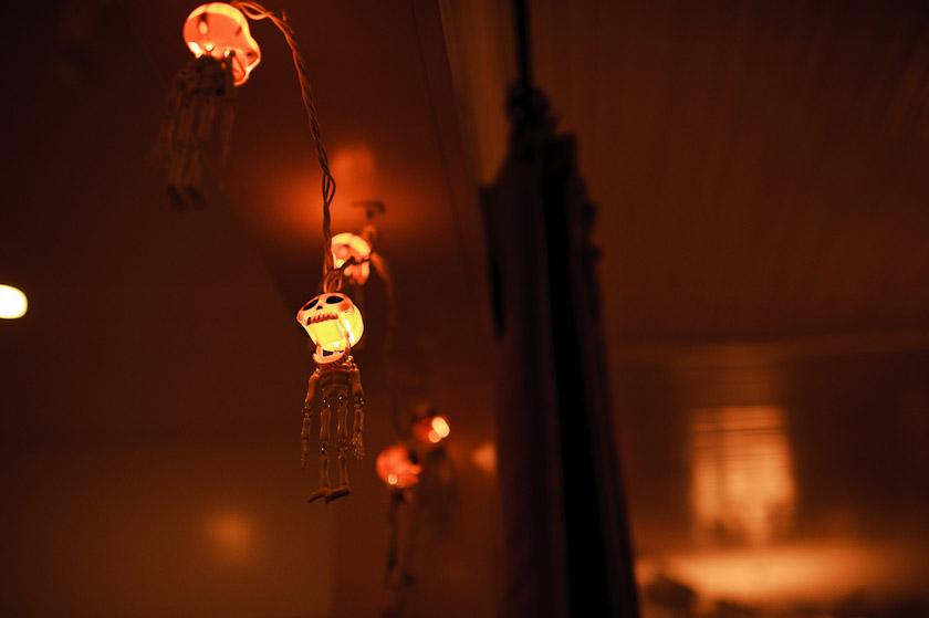 lights at Halloween wedding